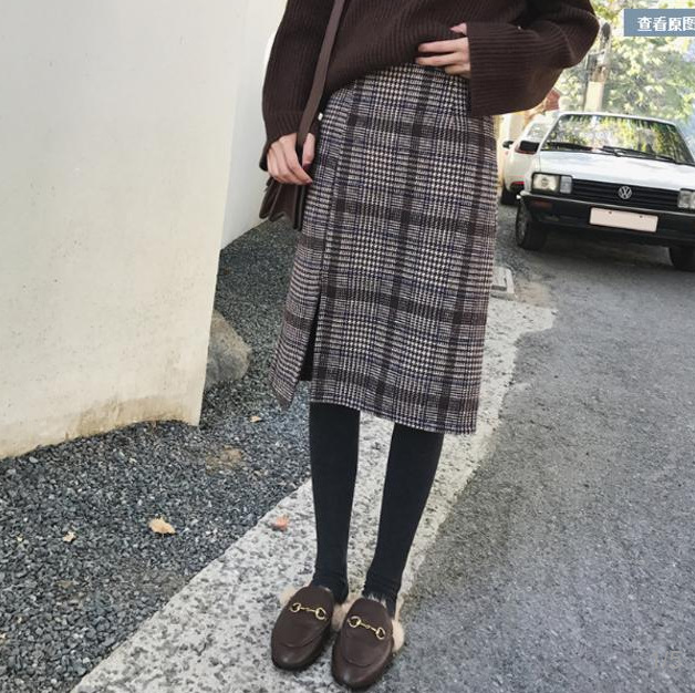 Retro Half-length 18-24 A Year Of Age Slimming Slit Skirt Plaid Skirt Women's Winter Korean-style Korean-style-Skirt A