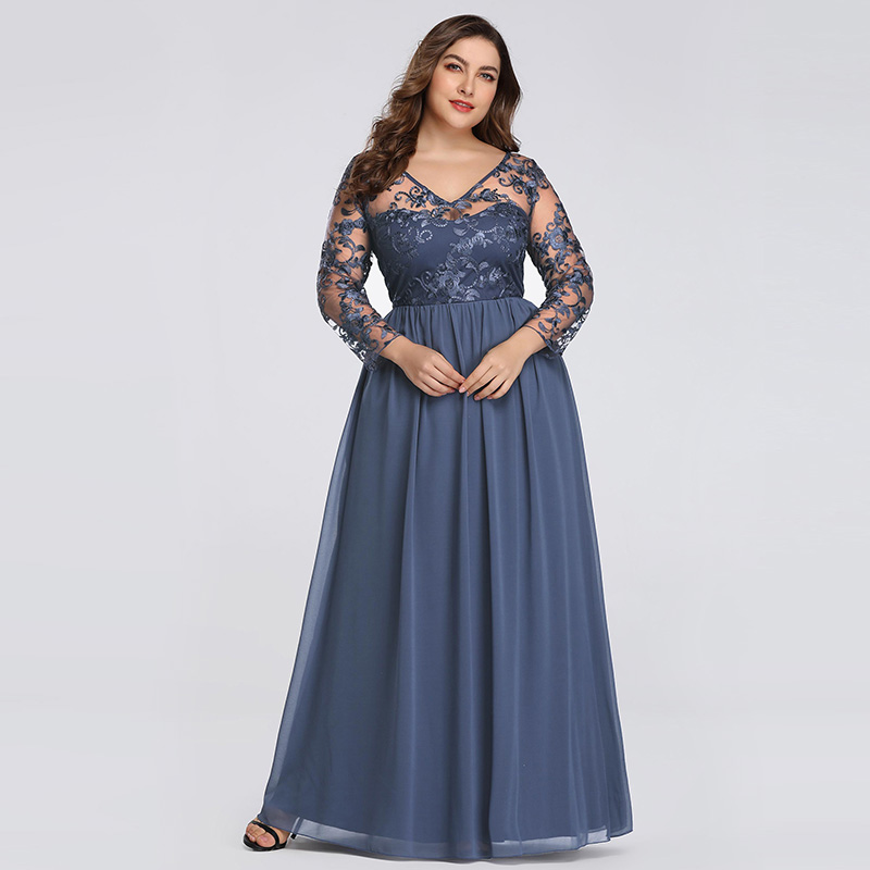 Plus Size   Evening     Dress   2019 New Elegant Lace Tulle V-neck Illusion   Dresses   3/4 Sleeves Zipper-up Formal   Dress   Party   Dress