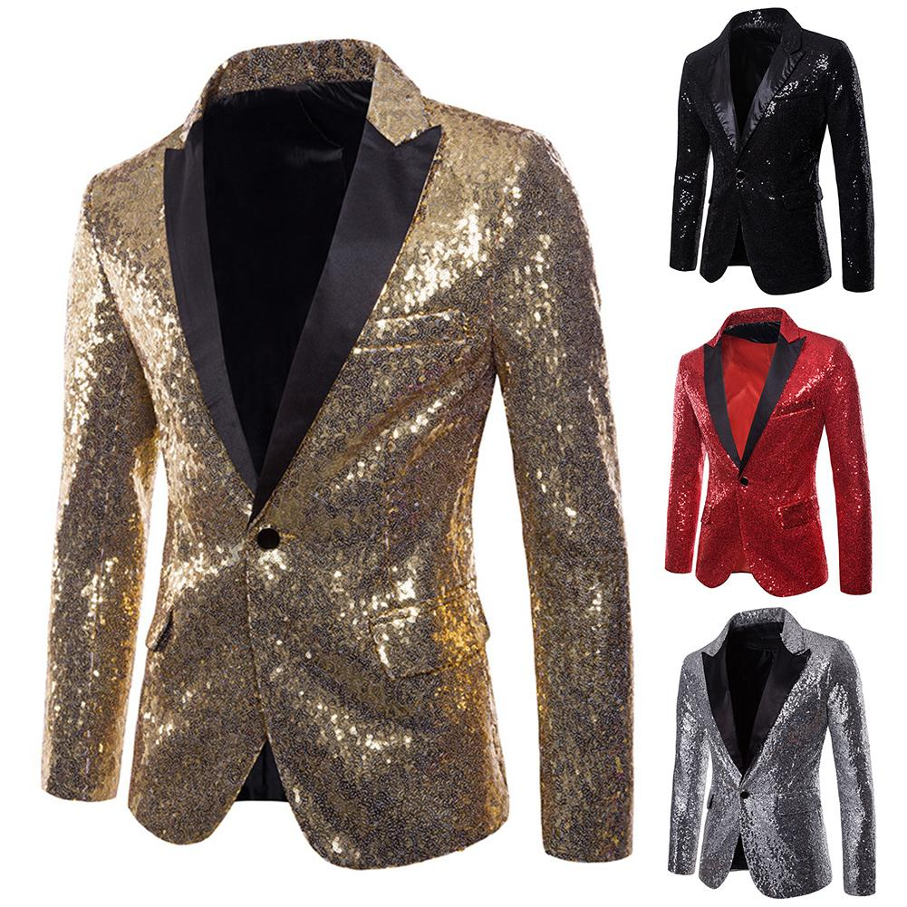 Chic Men Solid Color Lapel Collar Shiny Sequins Button Slim Club Blazer Jacket Nightclub Style Hosting Ceremony Wedding Suit