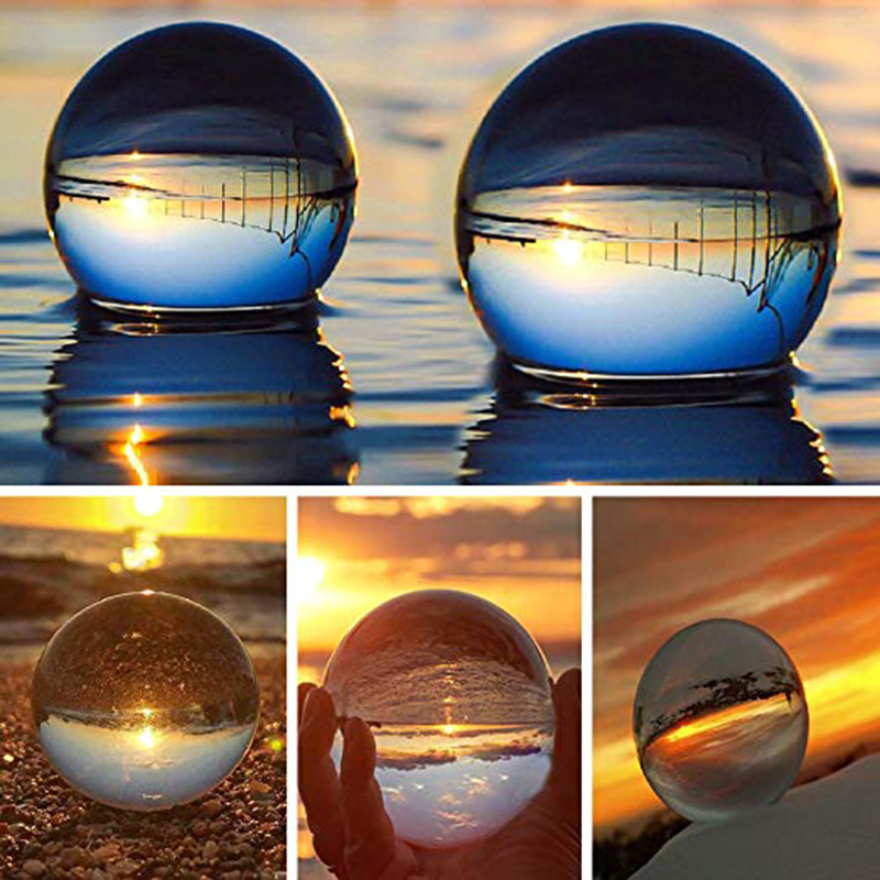 Crystal Ball Bundle, Optical Glass Reflective Spheres K9 Crystal Sphere Ball Decor Photography Ball, Clear Contact Juggling Ball