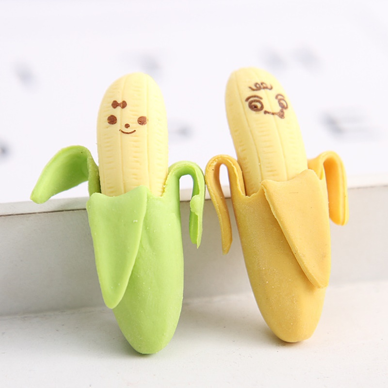 10pcs Banana Erasers Rubber For Pencil Erasing Funny Cute Stationery Novelty Eraser Office  School Student Supplies A6414