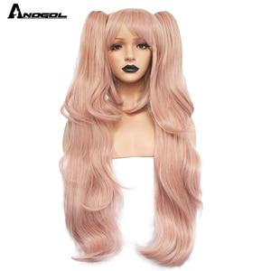 Image 4 - ANOGOL аниме Дзюнко Эносима Dangan Ronpa светильник розовый длинный волнистый синтетический Косплей парики хвостики Черный Белый Медвежонок клипсы костюм