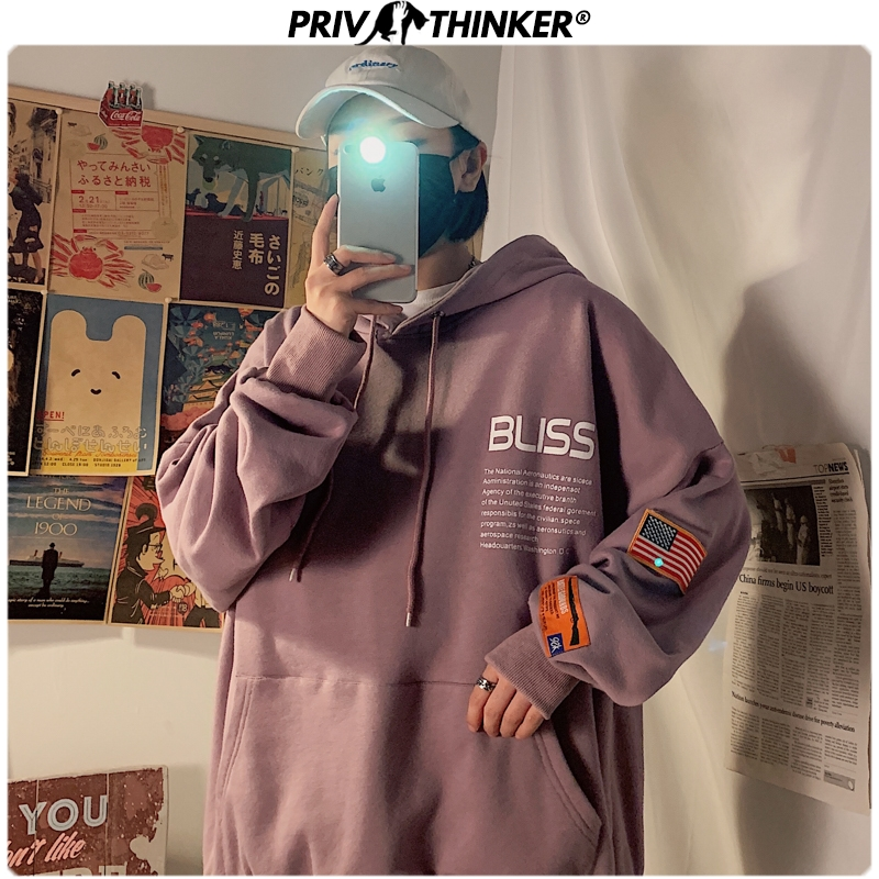 Privathinker Men 2020 Spring Printing Hoodies Mens Fashion Pullover Couple Hooded Sweatshirt Male Harajuku Clothes Sweatshirt