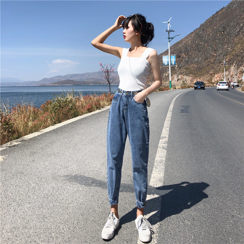 Skinny Slim Jeans For Women Korean Style Loose Blue Trousers High Waist Zipper Vintage Pants Stretch Womens Jeans Harajuku