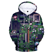 New Electronic Chip 3D Digital Printing Hooded Sweater Youth Trend Hoodie Harajuku Fleece Sports Hooded Sweater Couple Outfit