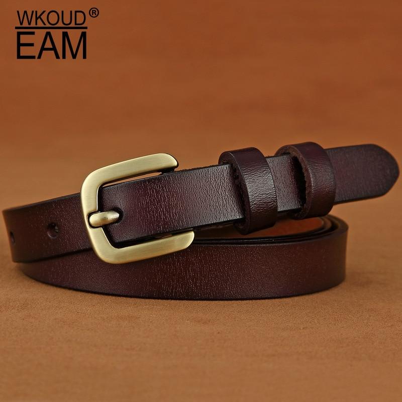 WKOUD EAM 2020 New Hot Sale Metal Pin Buckle Genuine Leather Belt For Women Casual Wild Pants Waistband Female Corset Belt PF204