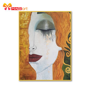 Cross stitch kits Embroidery needlework sets 11CT water soluble canvas patterns 14CT portrait Weeping woman's face -NCMP062
