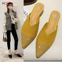 HQFZO Stretch Knit Slip On Breathable Mules Pointed Toe Women Shoes 2020 Low Heel Toe-covered Slipper Single Shoes Sandals(China)