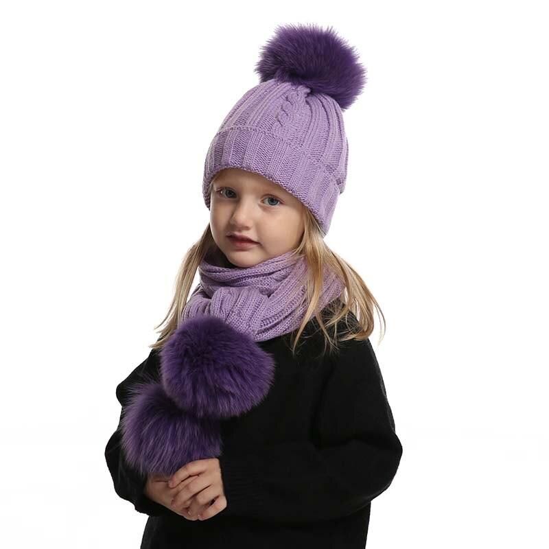 bonnet et écharpe ensemble mignon bébé garçon fille d' hiver