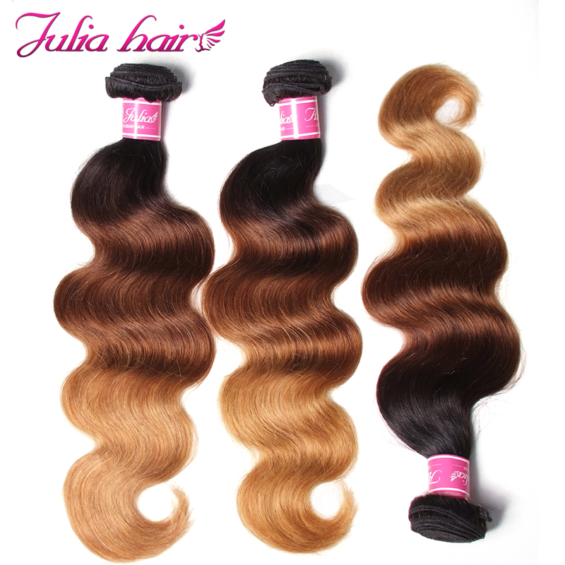Ali Julia Hair Indian Human Hair Ombre Body Wave Bundles Color T1B/4/27 16 To 26 Inches Extension Remy Hair 1pc 3pcs 4pcs