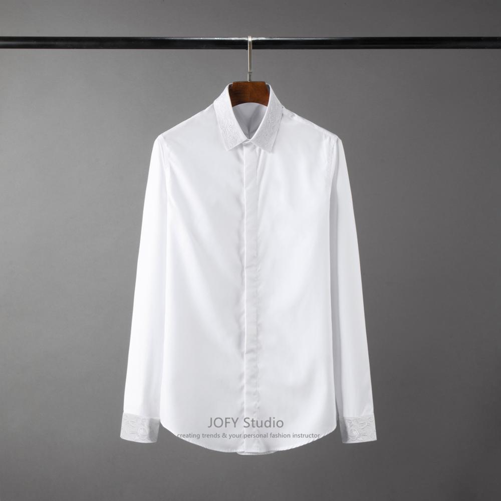 ¡38 48! nuevo cuello de alta densidad camisa bordada Lisa moda europea y americana camisa de negocios hombre - 2
