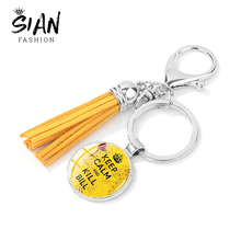 Keychain Leather Tassel Letter Killer Crystal Glass Bride Steampunk Printed SIAN And