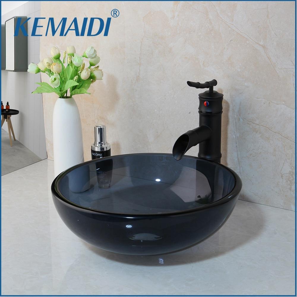 KEMAIDI Washbasin Tempered Glass Hand-Painted Lavatory Bathroom Bath Combine Sink Chrome Brass Basin Mixer Tap Bamboo Faucet