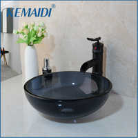 KEMAIDI Washbasin Tempered Glass Hand-Painted Lavatory Bathroom Bath Combine Sink Chrome Brass Basin Mixer Tap Bamboo Faucet