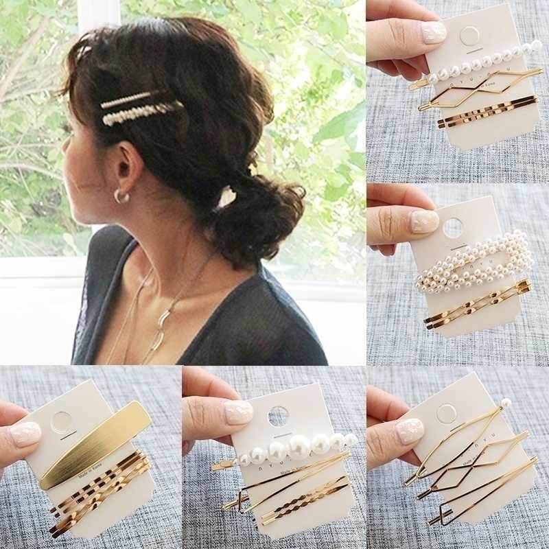 Moda ouro metal grampos de cabelo conjunto pérola grampo de cabelo para cabelo feminino grampos de cabelo para meninas estilo acessórios