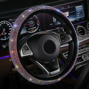 Universal Sparkle Luxury Bling Rhinestone Diamond Steering Wheel Cover Useful Car Accessories Car Interior Decor for 37cm-38cm