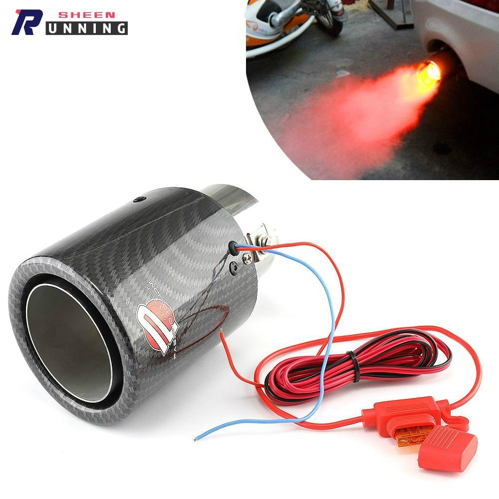 Universal carro sistema de escape silenciador ponta simples tubos cauda vermelho/azul luz modificado única saída tubo escape cauda garganta