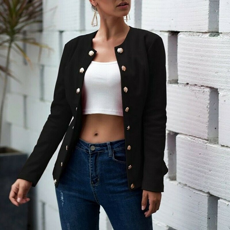 Women Autumn Blazer Slim Fit Smart Casual Button Long Sleeves Office Ladies Jacket Women's Double Breasted  Blazer Outer