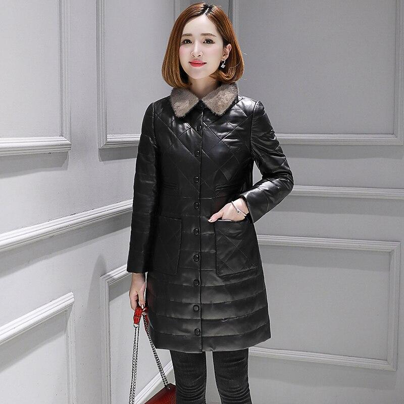 Real 100% Sheepskin Coat Female Mink Fur Collar Korean Down Jackets 2020 Winter Jacket Women Genuine Leather Jacket MY