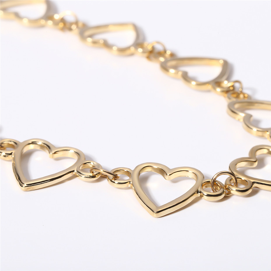 Ingemark Korean Sweet Love Heart Choker Necklace Statement Girlfriend Gift Cute Gold Silver Necklace Jewelry Collier Femme 18 14