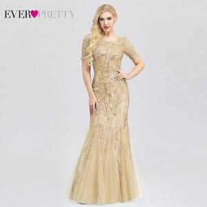 Image 2 - Grande taille robes de bal jamais jolie EZ07705 seuqiné o cou manches courtes élégant petite sirène robes robes de soirée formelle 2020