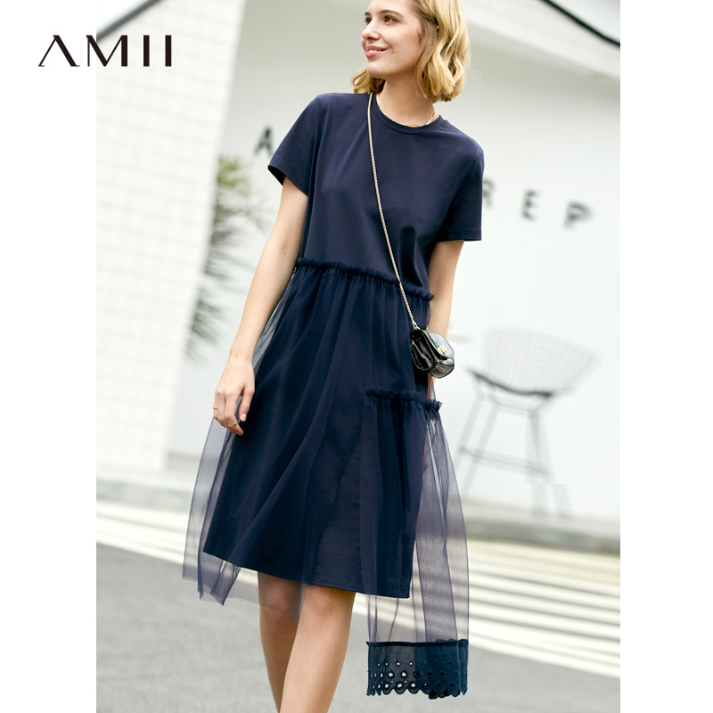 Amii летнее женское лоскутное платье, повседневное однотонное лоскутное кружевное платье с коротким рукавом и круглым вырезом, женское плать...