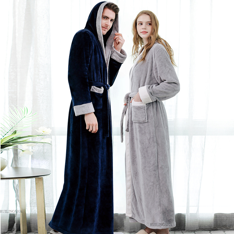 Men Winter Plus Size Thicken Warm Flannel Hooded Bathrobe Extra Long Coral Fleece Bath Robe Night Dressing Gown Women Sleepwear