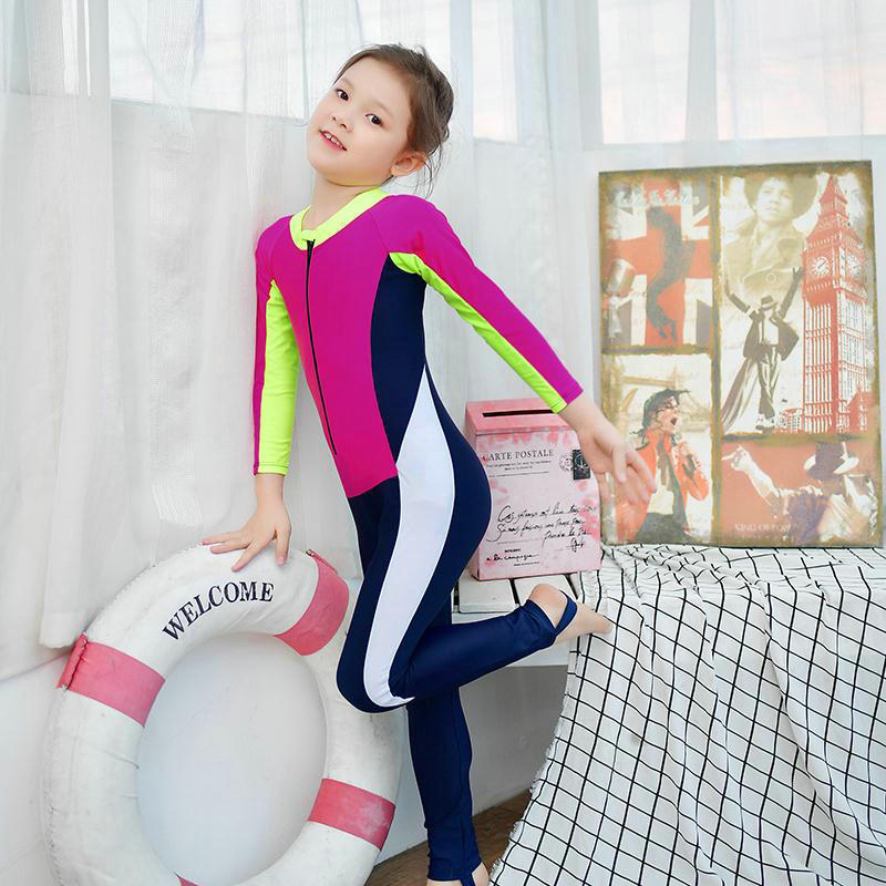 Bathing Suit Women's One-piece CHILDREN'S Swimwear Children Baby Long Sleeve Sun-resistant Diving Jellyfish Service Training CHI