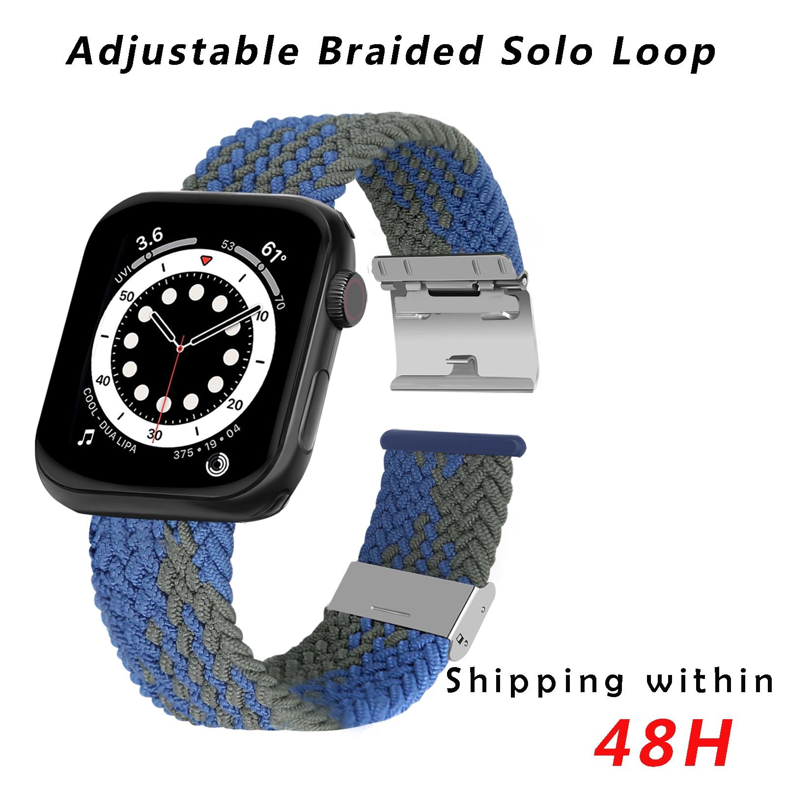 Pulseira compatível com apple pulseiras de relógio 44mm 40mm 38mm 42mm, iwatch bandas para homem feminino, ajustável trançado solo loop