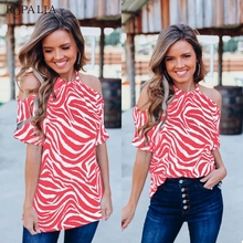 Women Summer Casual Blouse Sexy Off Shoulder Off-The-Shoulder Chiffon Shirt Short-Sleeved Tops sweet off the shoulder women s flounced blouse