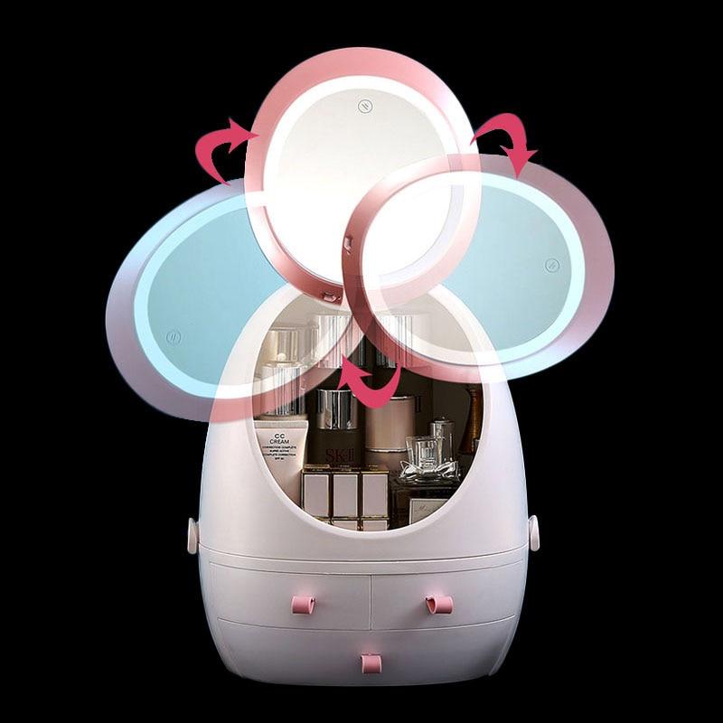 Make-up Jewelry Box Makeup Organizer High Definition Mirror LED Light Cosmetics Jewelry Storage BOX Desktop Drawer Storage USB
