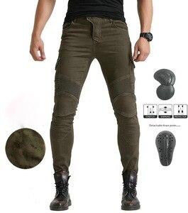 Image 2 - גברים של אופנוע אופנתי צמר חם חורף ג ינס Slim מקרית הגנה החטוב להפליא Motorpool CargoStyle רב כיס רכיבה מכנסיים