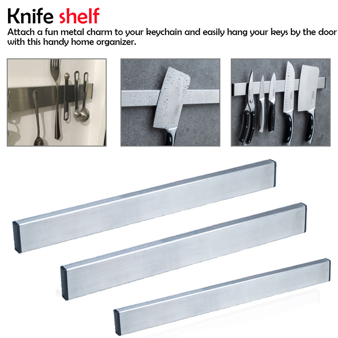 Magnetic Self-adhesive 30cm/40cm/50cm Length Knife Holder Stainless Steel 304 Magnet Knife Holder Rack Stand For Knives
