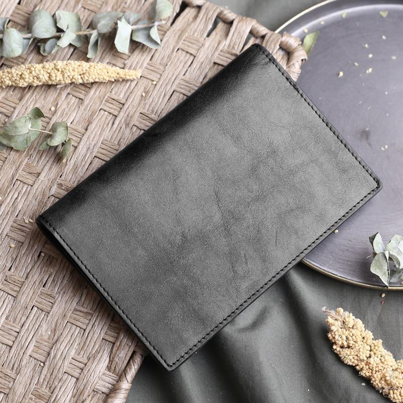 Homme en cuir couverture de passeport en cuir simple couverture de passeport multifonction rétro court pochette pour tickets