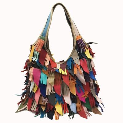 Bags For Women 2020 Genuine Leather Handbags Shoulder Messenger Bag Tassel Color Matching Women\'S Bags Large Color Stray Bag
