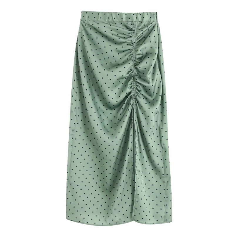 Women Vintage Polka Dot Printing Pleated Drawstring Split Midi Skirt Faldas Mujer Ladies Side Zipper Chic Slimming Skirts QUN525