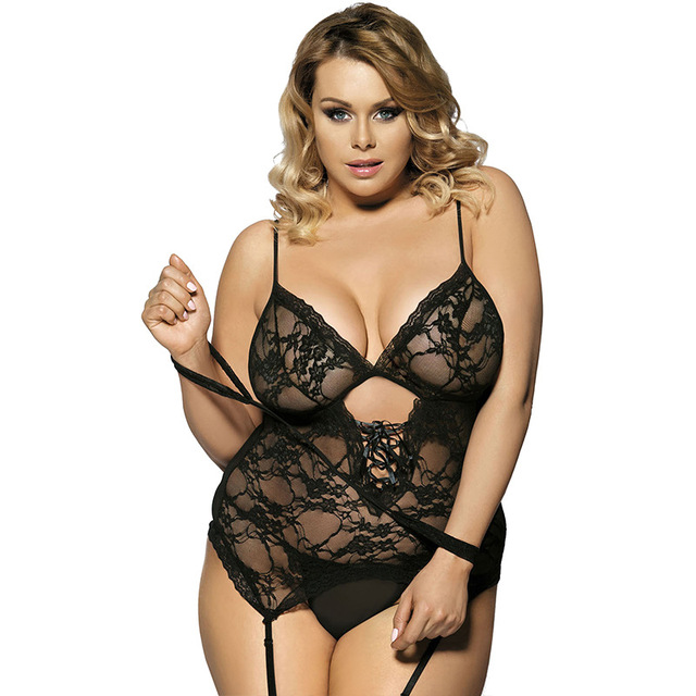 Erotic Lace Underwear Hollow Out Backless Plus Size Lingerie With Handcuff 1