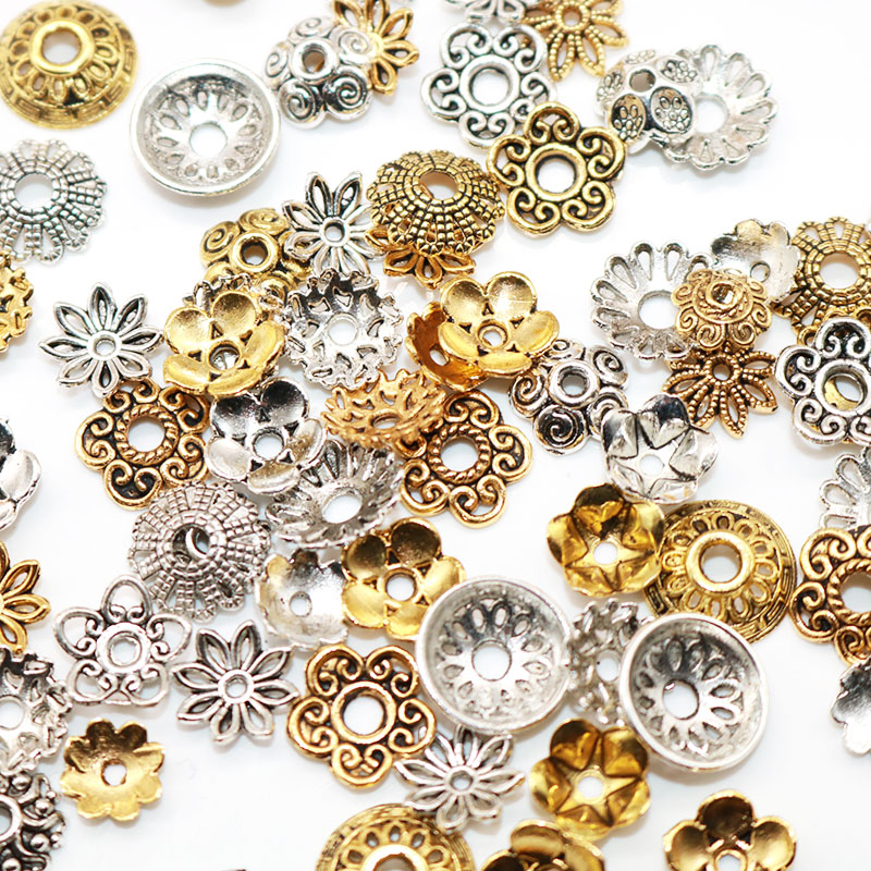 50/100pcs Mixed Size Tibetan Antique Silver Color Flower Bead Needlework Diy Accessories End Caps For Jewelry Making Findings