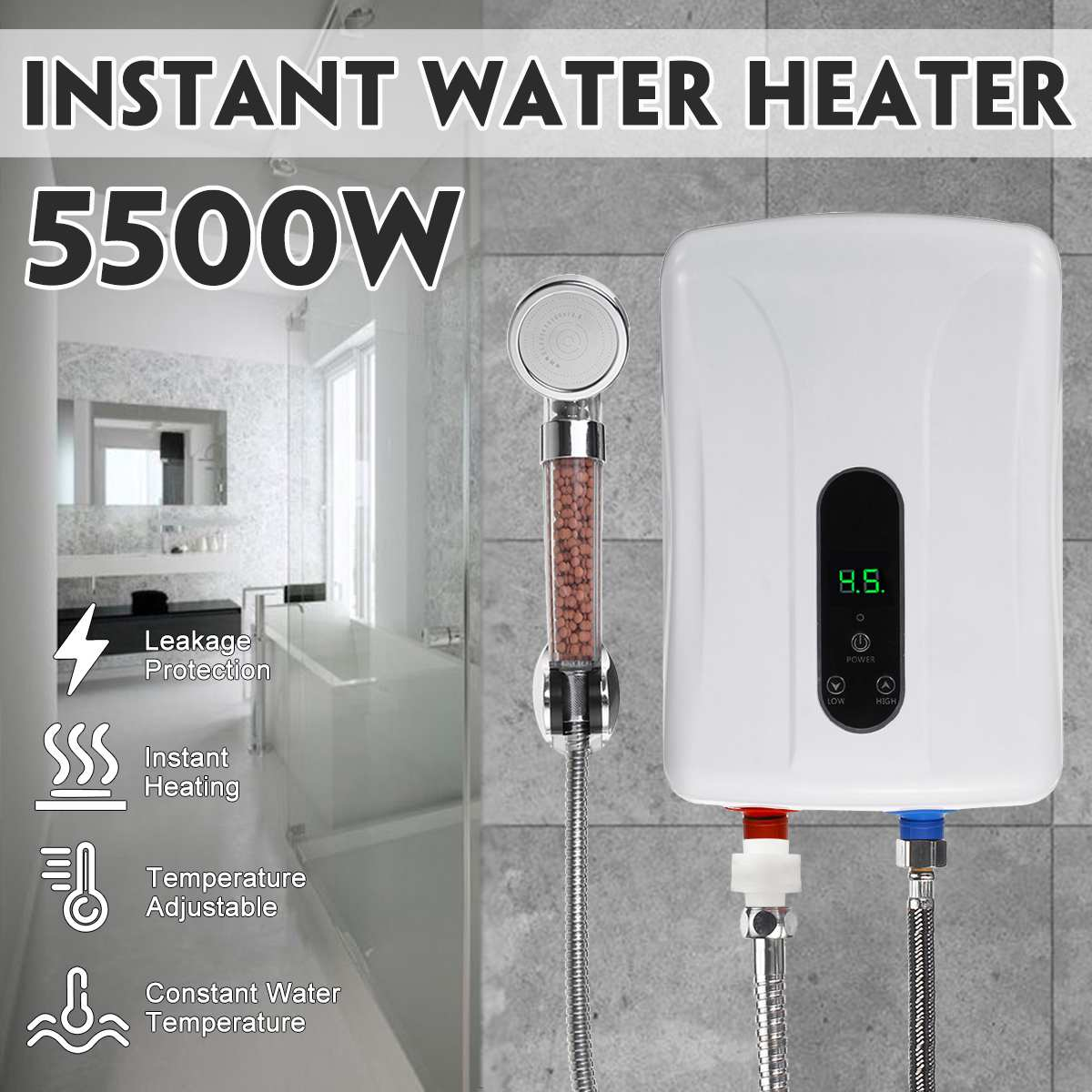 New  5500W 220V Mini Instant Electric Hot Water Heater Shower Safe Intelligent Electric Water Heaters