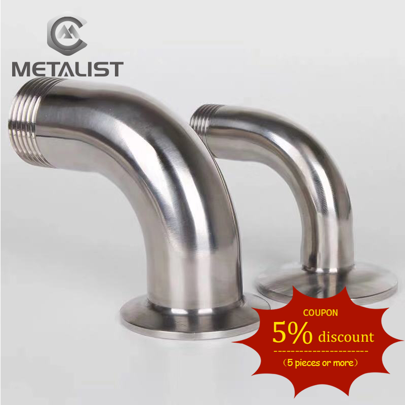 METALIST DN15 BSP Male Thread SS304 Sanitary Ferrule 90 Degree Elbow Pipe Fitting For Homebrew Fit 1.5