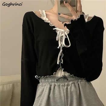 Women Long Sleeve T-shirts Lace-up Patchwork Ruffles Trendy Sweet Lovely Crop Tops Sexy Females Leisure Chic All-match Outwear 1