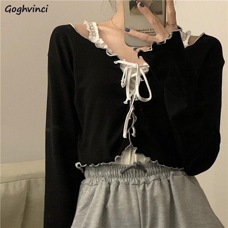 Женские футболки с длинным рукавом, модные милые кроп-топы со шнуровкой и оборками в стиле пэчворк, пикантная Женская Повседневная шикарная...