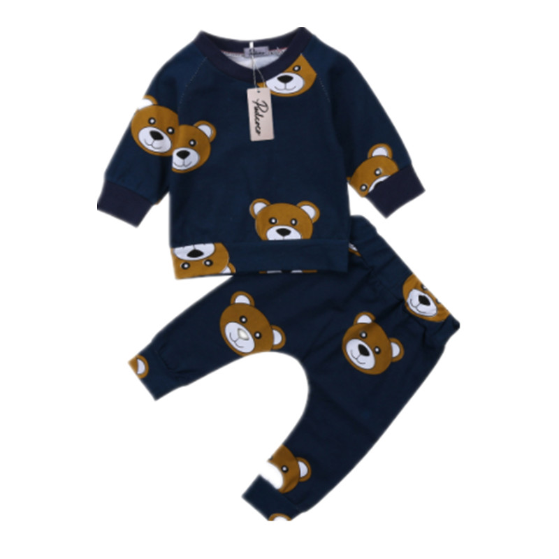 Newborn Toddler Kids Baby Boy Clothes T Shirt Hoodies +Long Pants Long Sleeve 2pcs Outfts Home Baby Clothes Set