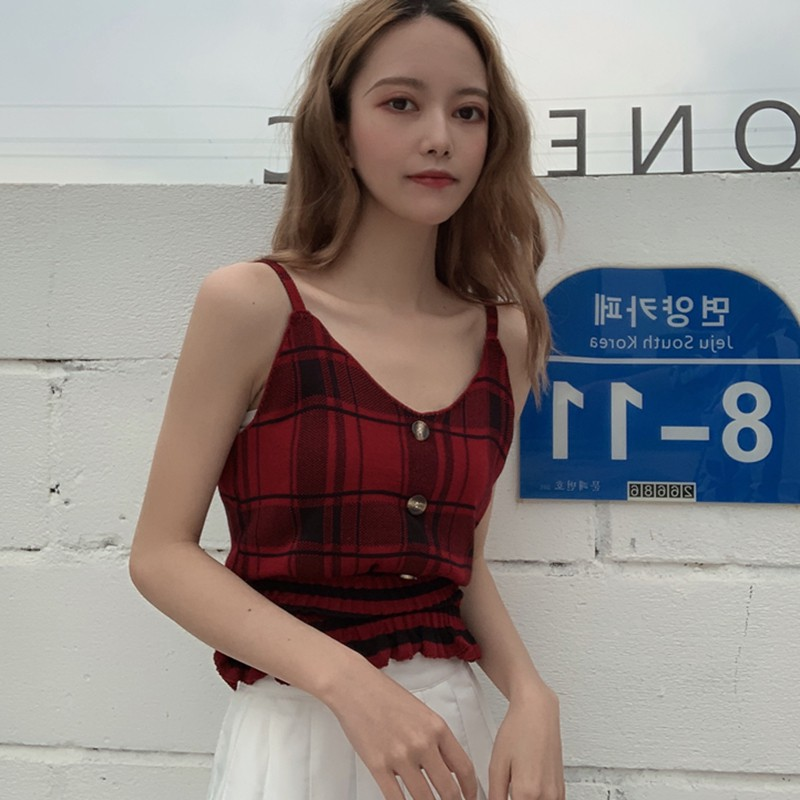 Women Plaid Knit Top Buttons Cropped Club Sexy Camisole Knitted Top Sleeveless Ruffles Knitted Sweet Chic Tee Shirts Crop Top 4