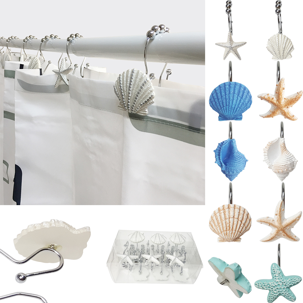 12 Pcs Creative Seashell Starfish Conch Decorative Shower Curtain Hooks Rod Decor for Bathroom Livingroom Kitchen Study Room