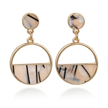 Hello Miss New fashion earrings simple personality geometric semicircle hollow imitation marble ear jewelry