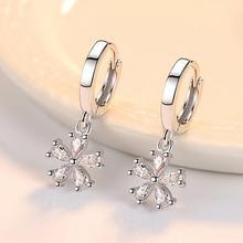 Милые серебряные серьги-кольца с цветами в Сиднее, Круглый фианит, серебро 925 пробы, ювелирные серьги для женщин