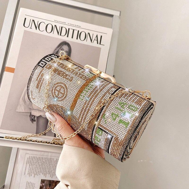 Crystal Diamond painting Evening Clutch Bags women Round small Dollar Purse Luxury designer Handbag 2021 chain shoulder bag B342