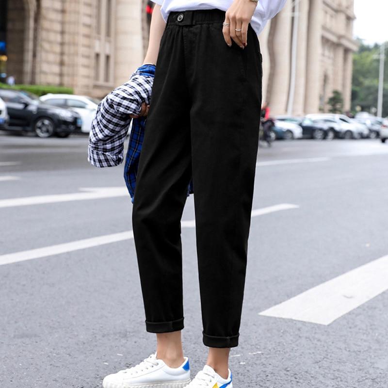 Осенние женские модные повседневные девятые штаны-шаровары, новые женские узкие брюки редис, винтажные свободные брюки-карго