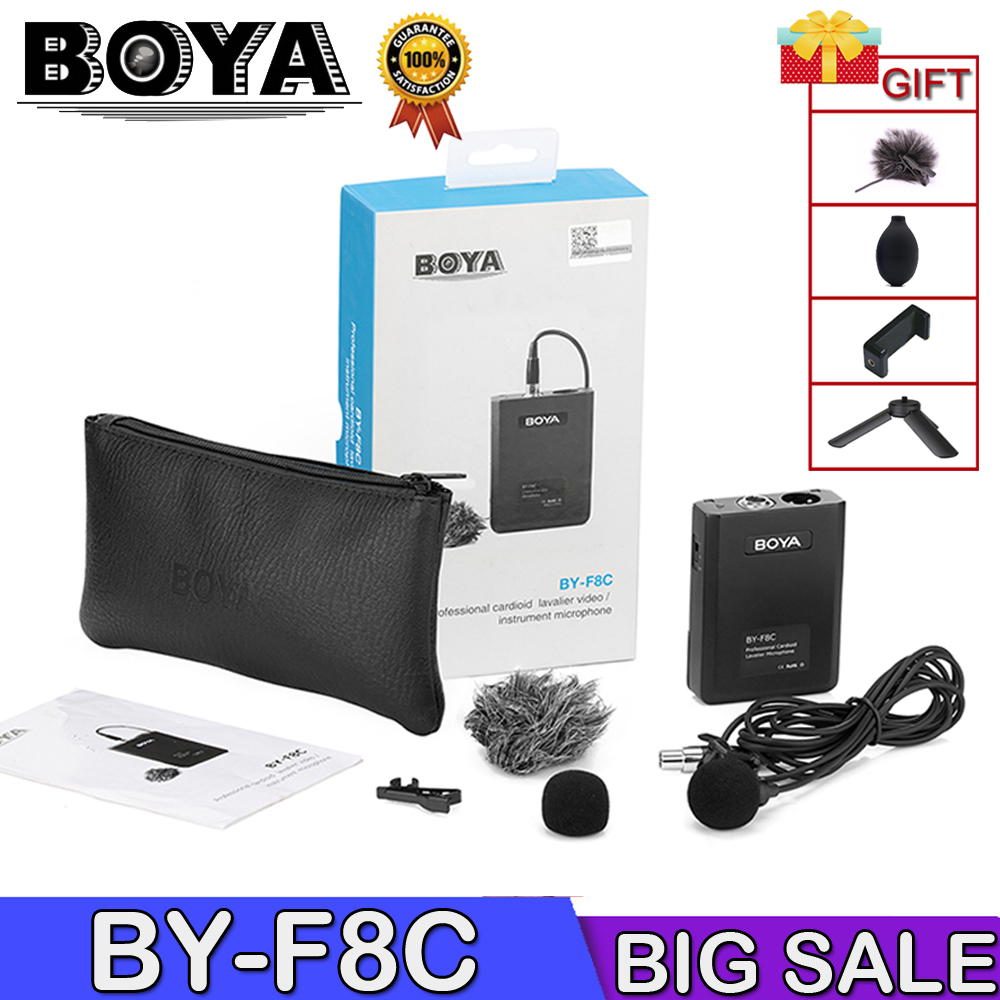 BOYA BY-F8C Microphone Cardioid Lavalier Condenser Microphone Mic Video Instrument Sound Recording Microphone W/XLR Connector